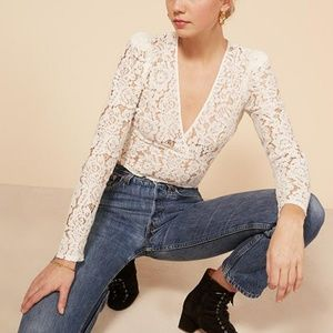 Reformation Halo Lace Long Sleeve Crop Top